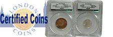 Certified Coins : Covers English Coins graded and encapsulated by third party grading companies including CGS - UK, and the US companies such as PCGS and NGC. <br />