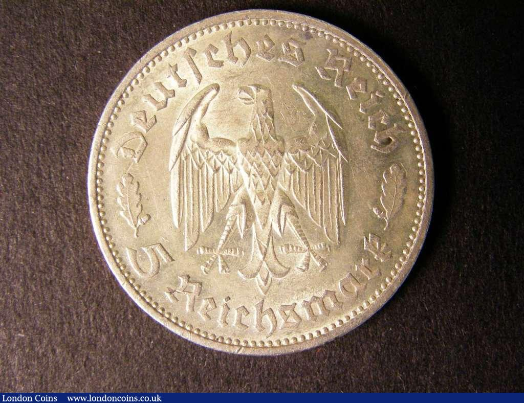 Germany 3rd Thirdreich 5 Reichsmark 1934F Schiller KM85  scarce EF with 2 small rim nicks : World Coins : Auction 122 : Lot 1362