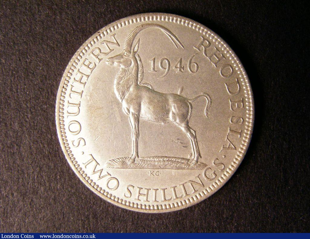 Southern Rhodesia Two Shillings 1946 rare NEF some faint grey staining obverse right hand side near the rim, perhaps removable : World Coins : Auction 122 : Lot 1429