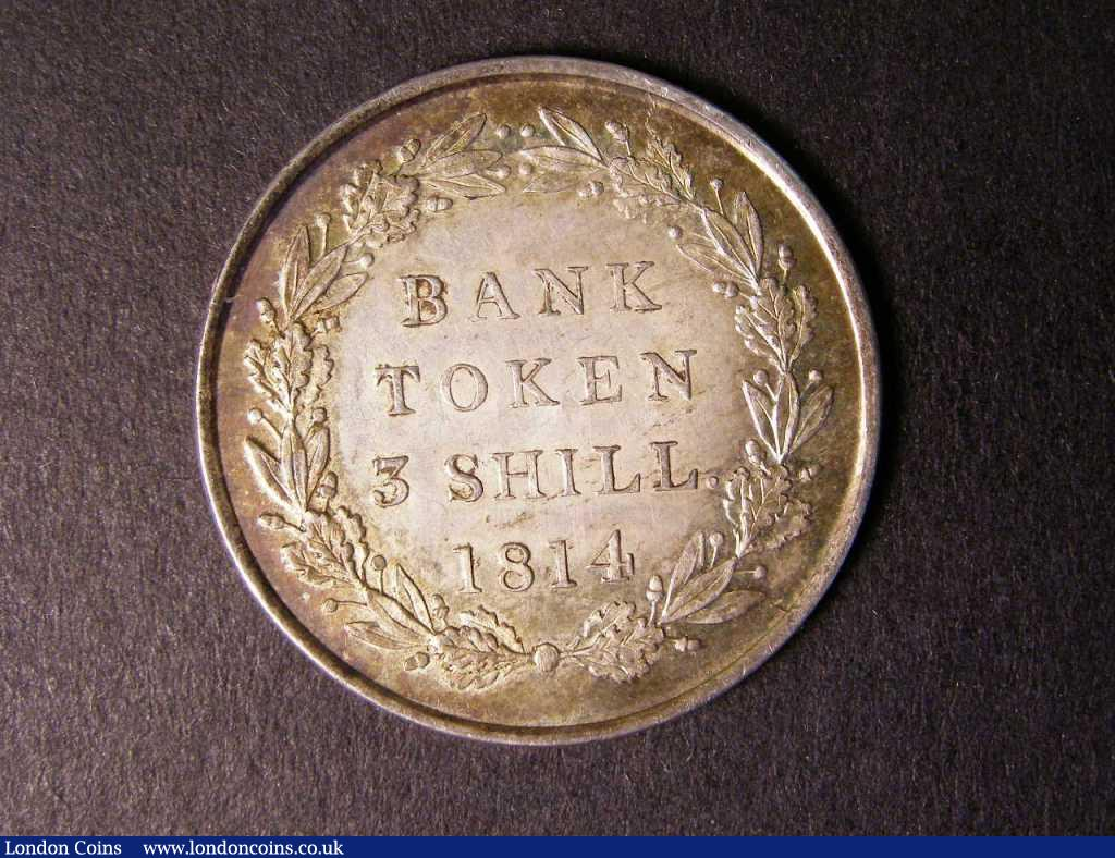 Bank Token Three Shillings 1814 ESC 422 A/UNC with a light tone : English Coins : Auction 122 : Lot 1461
