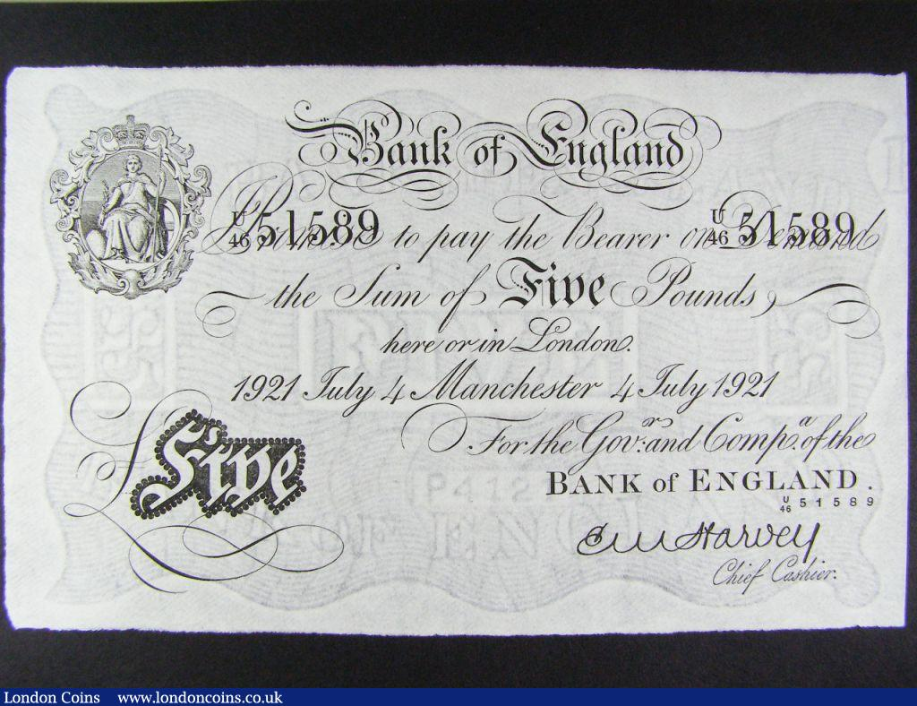 Five Pounds Harvey Manchester 4th July 1921aU and rare thus serial number U/46 51589 Duggleby B209a : English Banknotes : Auction 122 : Lot 147