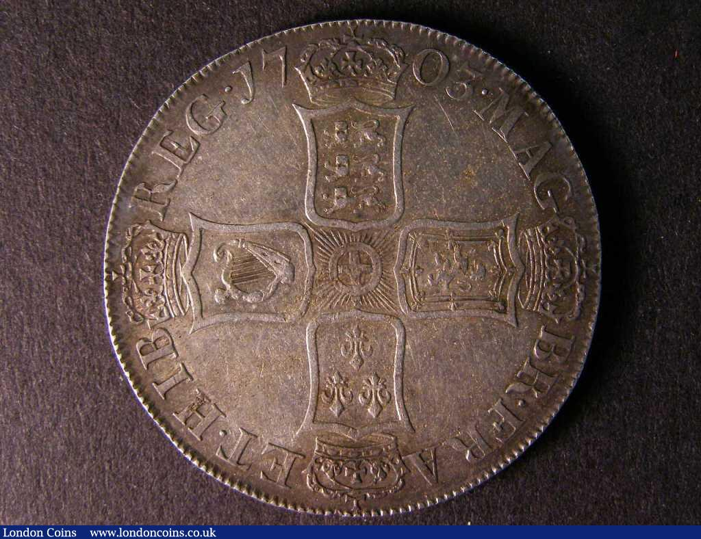 Crown 1703 VIGO ESC 99 GVF/NEF nicely toned with light haymarking across the reverse : English Coins : Auction 122 : Lot 1474
