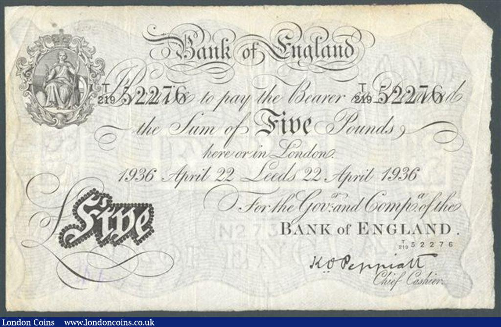 Five pounds Peppiatt white B241 dated 22 April 1936 serial T/219 52276 LEEDS branch issue, Fine : English Banknotes : Auction 122 : Lot 163