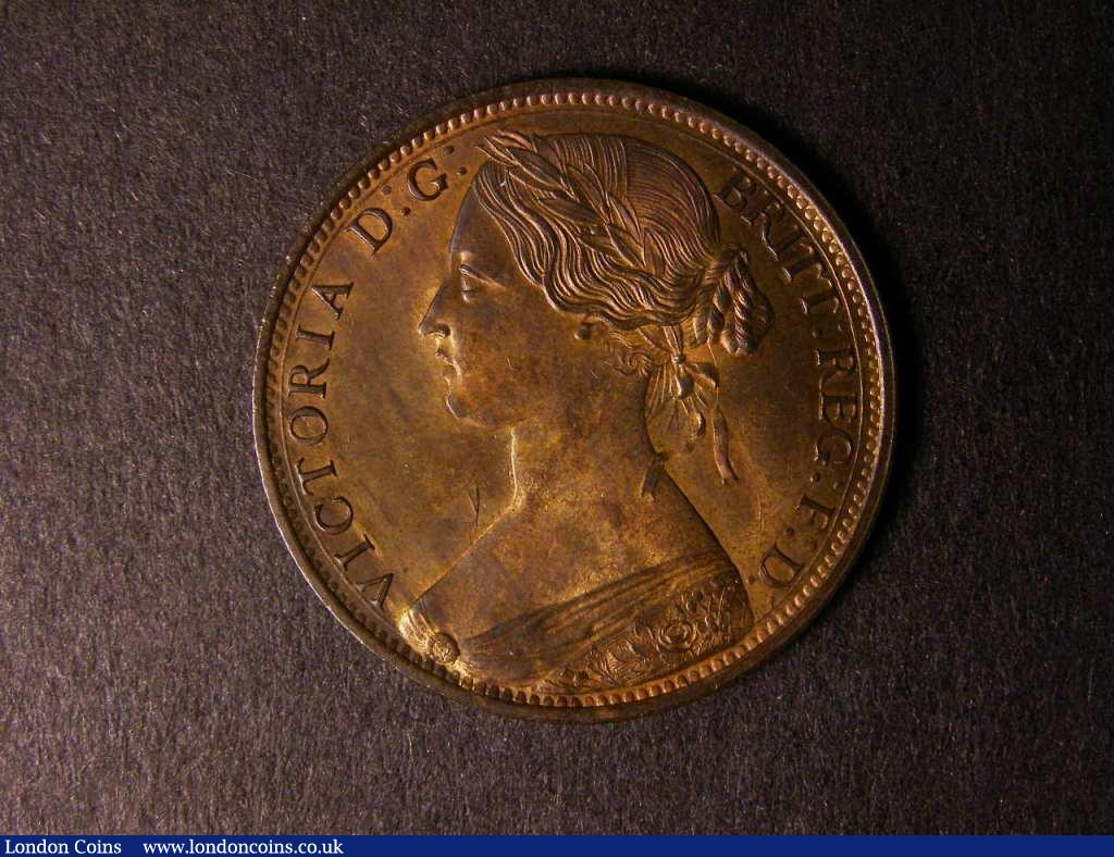 Penny 1863 Freeman 42 dies 6+G UNC or near so with some streakiness on the reverse : English Coins : Auction 122 : Lot 1747