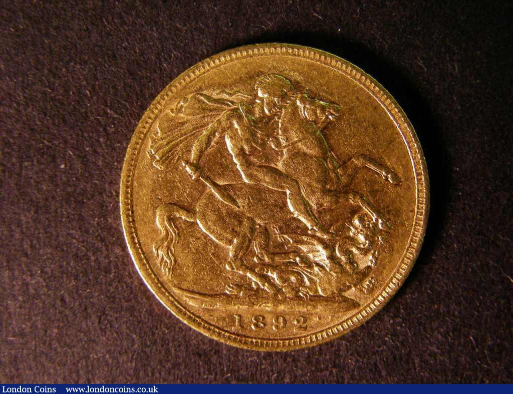 Sovereign 1892 S.3866C Horse with longer tail F/GF : English Coins : Auction 122 : Lot 1931