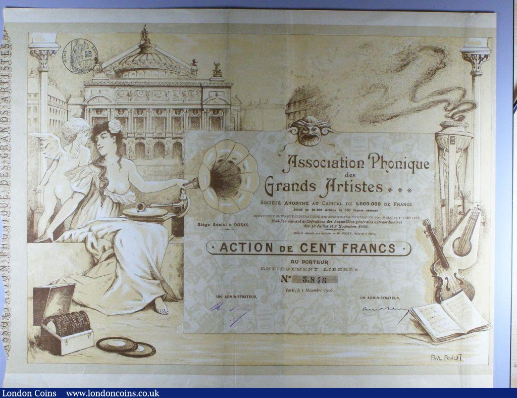 France, Association Phonique des Grands Artistes, certificate for one share, Paris 1906, very attractive certificate with many vignettes including, female with gramophone, cherub, records, violin and the Opera House, design by Paul Poncet, large format, brown & yellow, with coupons, AVF. (1). : Bonds and Shares : Auction 122 : Lot 29