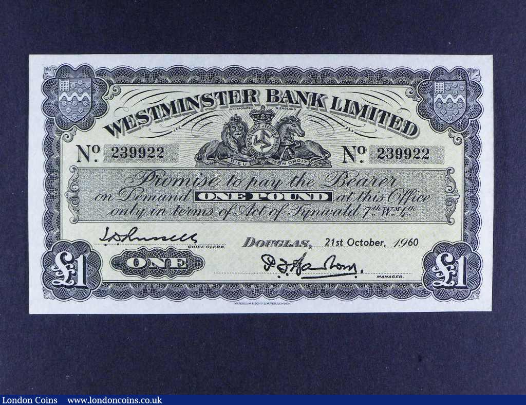 Isle of Man Westminster Bank £1 dated 21st October 1960 signed Barlow/Russell, Pick23Ab, UNC : World Banknotes : Auction 122 : Lot 415