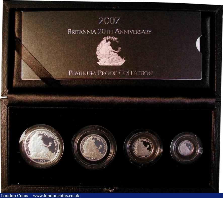 Britannia 20th Anniversary Platinum Proof Collection 2007 a 4-coin set comprising £100 (1 ounce), £50 (Half ounce), £25 (Quarter ounce) and £10 (One Tenth ounce) all in .9995 Platinum, FDC cased as issued with certificate, number 230 of just 250 sets issued, this set unlisted in the Spink Catalogue : English Cased : Auction 122 : Lot 685