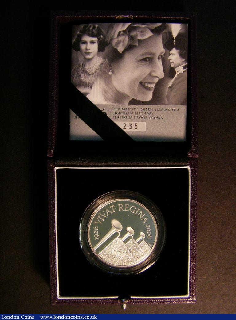 Five Pound Crown 2006 Queen's 80th Birthday Platinum Proof Piedfort FDC boxed as issued with certificate, number 235 of just 250 issued : English Cased : Auction 122 : Lot 726