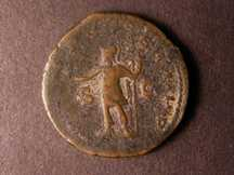London Coins : A124 : Lot 1784 : Posthumus Ae  Sestertius (AD 259-268). R. Posthumus standing left holding globe and spear. Fine