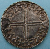London Coins : A124 : Lot 1891 : Penny Aethelred II 978-1016, long cross type, moneyer Wulfsige on Exeter mint. Good very fin...