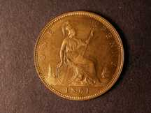 London Coins : A124 : Lot 696 : Penny 1861 Freeman 22 dies 4+D UNC with almost full lustre