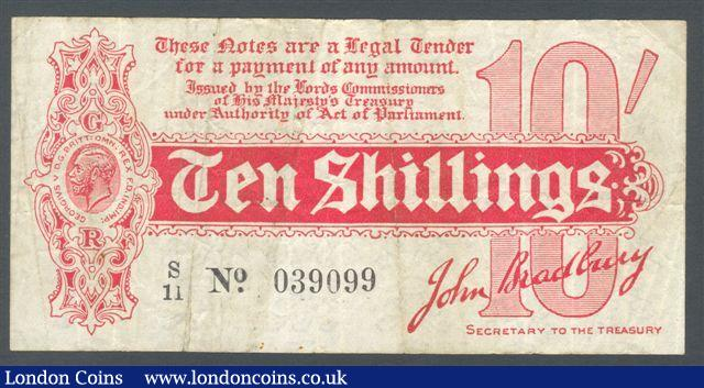 Treasury 10 shillings Bradbury T8 issued 1914 prefix S/11, small edge tears at left, Fine+ : English Banknotes : Auction 125 : Lot 140