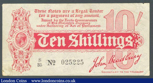 Treasury 10 shillings Bradbury T8 issued 1914 prefix S/35, small edge tears and tiny paper mount marks on reverse corners, pressed GVF : English Banknotes : Auction 125 : Lot 141