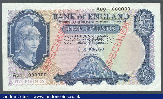 Five pounds O'Brien B277s Helmeted Britannia SPECIMEN issued 1957, serial A00 000000, EF : English Banknotes : Auction 125 : Lot 228