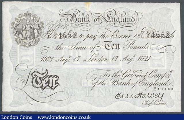 Ten pounds Harvey white B209b dated 17th August 1921 prefix 17/L, rust mark and tear top centre otherwise about EF : English Banknotes : Auction 125 : Lot 285