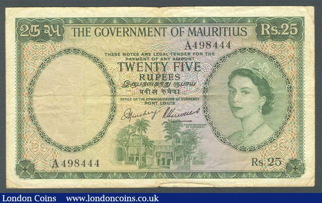 Mauritius 25 rupees issued 1954, QE2 portrait prefix A, signed Hinchey/Hervais, Pick29, small edge nick & surface dirt, Fine and scarce : World Banknotes : Auction 125 : Lot 448