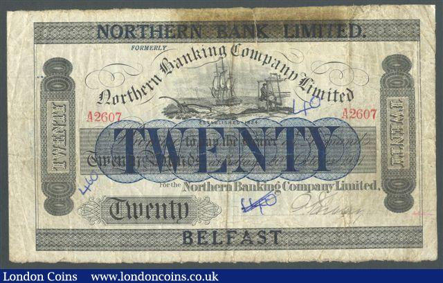 Northern Ireland £20 Northern Bank Ltd dated 1921 serial A2607, Pick174, inked numbers and taped edge tear at top, about Fine and scarce earlier date : World Banknotes : Auction 125 : Lot 461