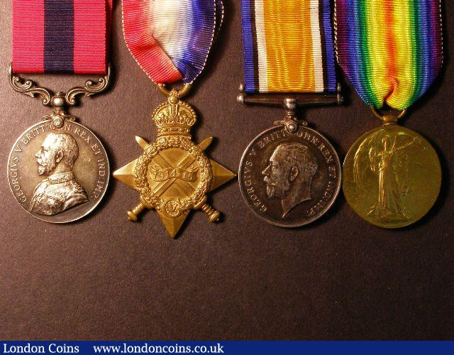 First World War DCM group to Sjt F Tomlinson, Manchester Regiment, Distinguished Conduct Medal G.V.R. (10721 Sjt. F Tomlinson 18/Manch.R.), 1914-15 Star, British War & Victory Medals (10721 Cpl. Manch R.). Extremely fine. London Gazette