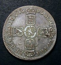 London Coins : A126 : Lot 1137 : Halfcrown 1696 First Bust , Small Shields, Ordinary Harp as ESC 534 but with No Stops on Obv...