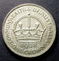 London Coins : A126 : Lot 447 : Australia Crown 1938 KM#34 EF with some contact marks on the obverse