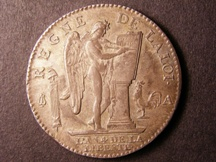 London Coins : A126 : Lot 474 : France 6 Livres 1792 Louis XVI choice GEF or better small flan fault in the King's hair the only sli...