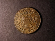 London Coins : A126 : Lot 513 : Ireland Halfcrown Gunmoney 1690 May. Small Size with FR.A for FRA S.6580BB GVF with some very light ...