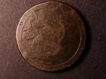 London Coins : A126 : Lot 717 : Penny 1797 countermarked with St.Thomas, 1860, and TA monogram inside a V Fine with host coi...