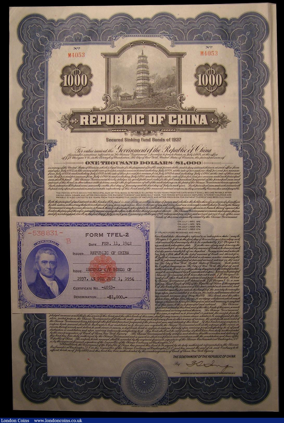 CHINA GOVERNMENT 1911 HUKUANG RAILWAY £20 BOND WITH COUPONS  BY BANQUE INDOCHINE