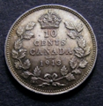 London Coins : A129 : Lot 765 : Canada 10 Cents 1913 Small Leaves KM#23 UNC lightly toned with minor cabinet friction