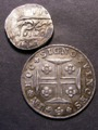London Coins : A129 : Lot 846 : Portugal 400 Reis 1812 KM 331 VF along with an Indian Princely States Silver Rupee