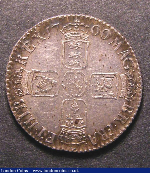 Shilling 1700 Fifth Bust ESC 1121 EF with some haymarking and darkly toned around the rims : English Coins : Auction 130 : Lot 1710