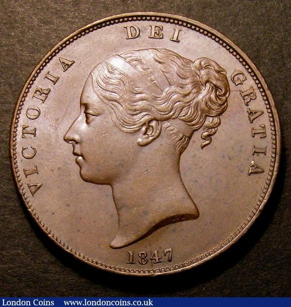 Penny 1847 DEF Far Colon Peck 1493 UNC or near so with minor