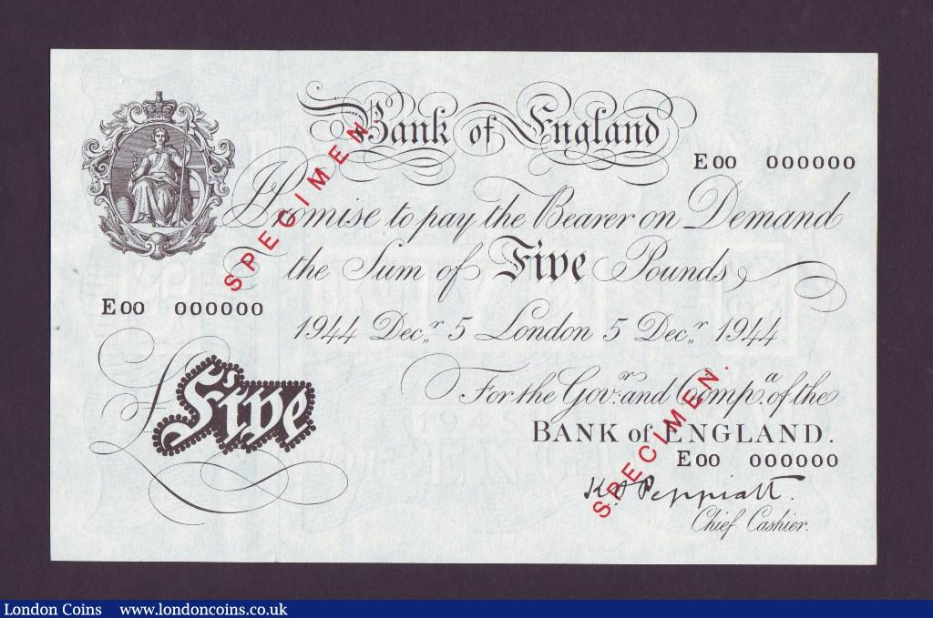 Five Pounds White Peppiatt. B255S. Specimen. 5th December 1944. E00 000000. Very scarce. EF to UNC. : English Banknotes : Auction 133 : Lot 2609