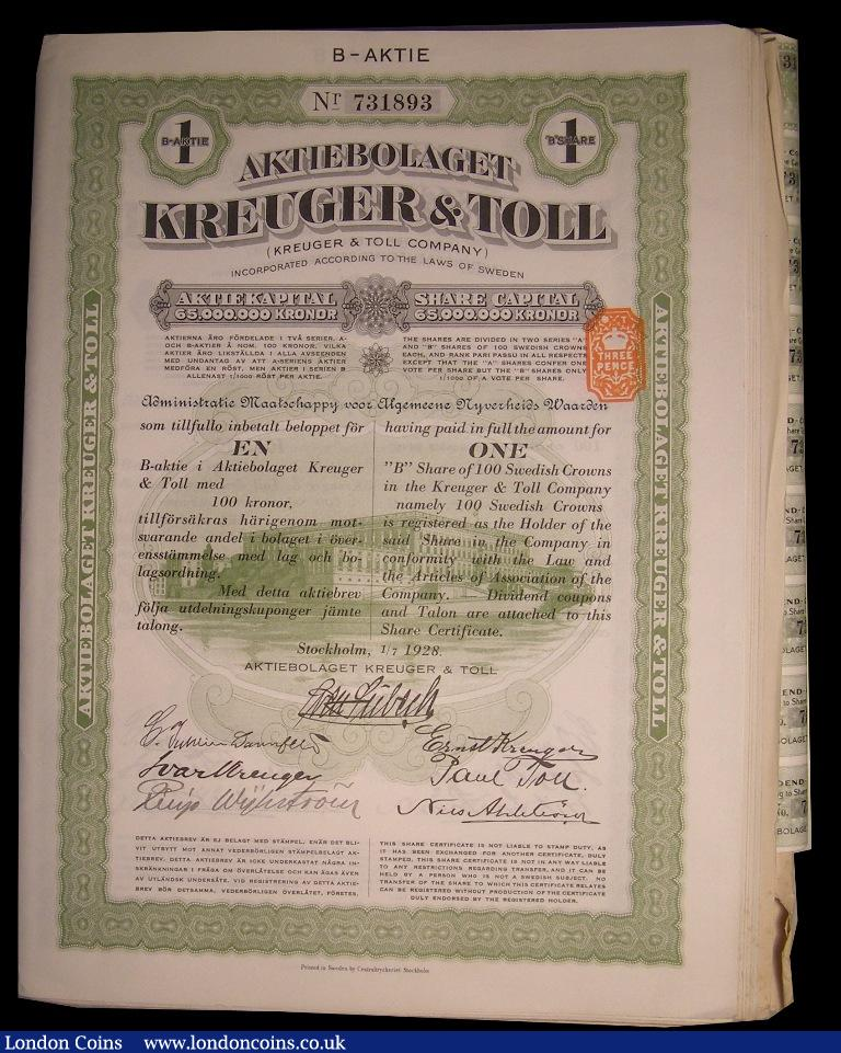 Sweden, Kruger & Toll Co  22 x 1B share certificates, green&