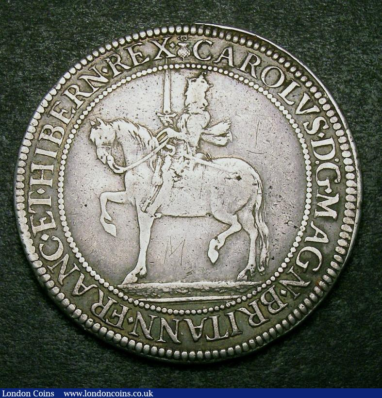 Scotland Sixty Shillings Charles I Third Coinage Briot's Issue B over Thistle/B equestrian portrait left rev crowned shield of arms S 5552 better than Fine and pleasant : World Coins : Auction 134 : Lot 1279