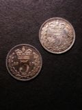 London Coins : A134 : Lot 2512 : Threepences (2) 1857 ESC 2064 NEF with a striking fault by the Queen's ear, 1859 Obverse A1 ...