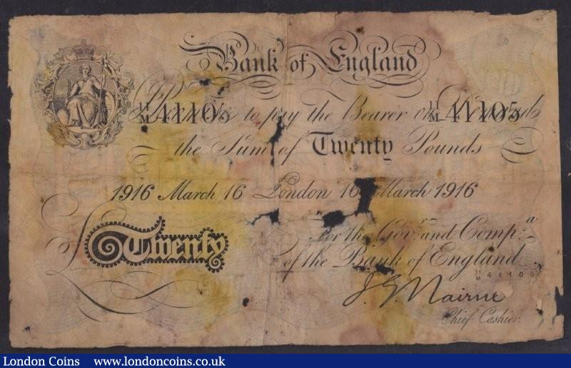 Twenty pounds Nairne B208d dated 16 March 1916 serial 11/M 41105, London branch, extremely water damaged causing thinning and holes, toned colour and in a very fragile condition, Poor but scarce : English Banknotes : Auction 135 : Lot 177