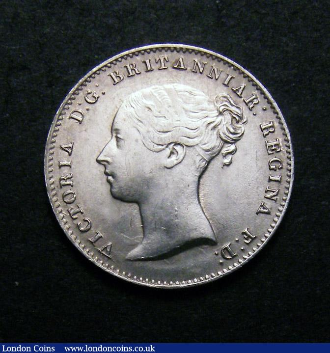 Threepence 1859 Obverse 1 ESC 2066 A/UNC with a weak