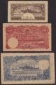 London Coins : A136 : Lot 868 : Thailand (3) 1 baht 1944 Pick44 corner wear, 50 baht 1945 Pick57b with watermark and 100 baht Pi...