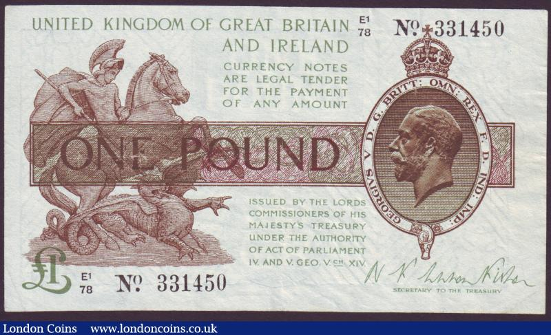 One pound Warren Fisher T31 issued 1923 series E1/78 331450 pressed VF : English Banknotes : Auction 137 : Lot 150