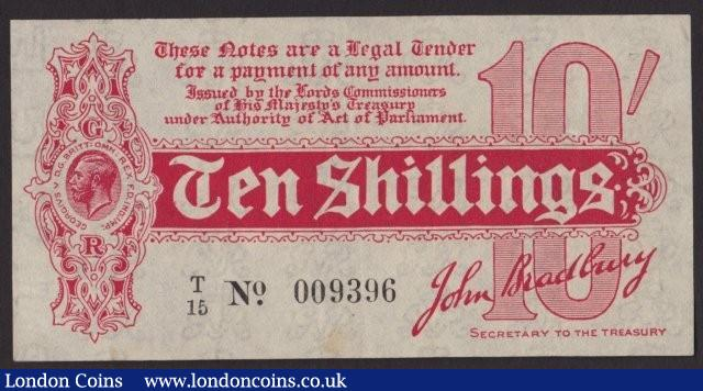 Treasury 10 shillings Bradbury T8 issued 1914 serial T/15 009396, one small pinhole & faint stains, pressed VF but looks a lot better : English Banknotes : Auction 137 : Lot 158