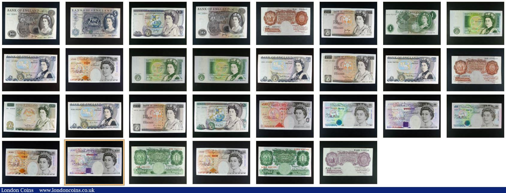 Bank of England collection in album (70) high grade collection all different from Mahon 10/- Z80 to Kentfield M01 replacement, includes Guernsey ovpt H36A, Fforde £20 A01, replacements Page £5 09M aUNC, Page £20 M01 aU/UNC, portrait Page £10 M01 aUNC, Fforde £1 T29M  aUNC, numerous 1st and last series, viewing highly recommended : English Banknotes : Auction 137 : Lot 164