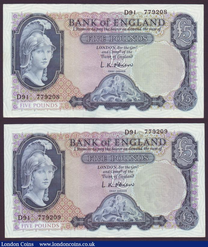 Five pounds O'Brien B277 (2) Helmeted Britannia issued 1957 a consecutive numbered pair prefix D91, EF : English Banknotes : Auction 137 : Lot 205
