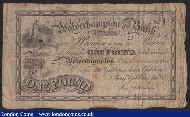 Wolverhampton Old Bank £1 dated 1815 for Tho.Gibbons, John Gibbons, Benj.Gibbons Jun. & Co., (Outing 2392e), pinholes & bankruptcy exhibit stamp on reverse, almost Fine : English Banknotes : Auction 137 : Lot 257