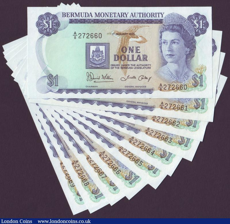 Bermuda $1 dated 1986 (10) a consecutively numbered run series A/8 272660 to A/8 272669, Pick28c UNC : World Banknotes : Auction 137 : Lot 267