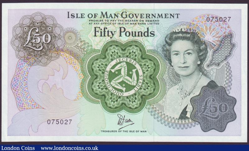 Isle of Man Government £50 issued 1983, Dawson signature, series No.075127, Pick39, corner flick only, about UNC to UNC : World Banknotes : Auction 137 : Lot 327
