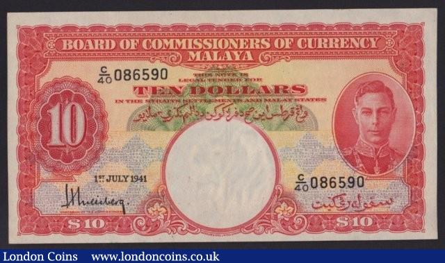 Malaya $10 KGVI dated 1st July 1941 series C/40 086590, Pick13, lightly pressed EF : World Banknotes : Auction 137 : Lot 334