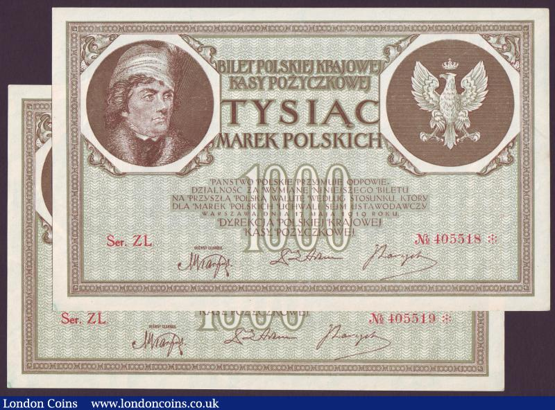 Poland 1,000 Marek 1922 (2) consecutive numbers Ser ZL 405518 and 405519 Au : World Banknotes : Auction 137 : Lot 339