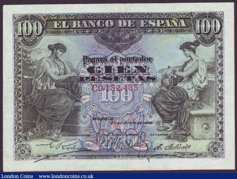 Spain 100 pesetas 1906 series C0132433 Pick59a pressed GVF : World Banknotes : Auction 137 : Lot 346